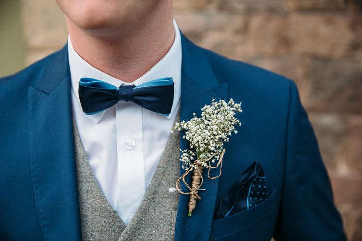 Cute babies breath button hole wrapped in bakers twine -   Image by Red On Blonde - Vintage wedding with 1920s inspired backless wedding dress and yellow and blue colour scheme. Groom with waistcoat & bow tie. Great Gatsby inspired wedding.