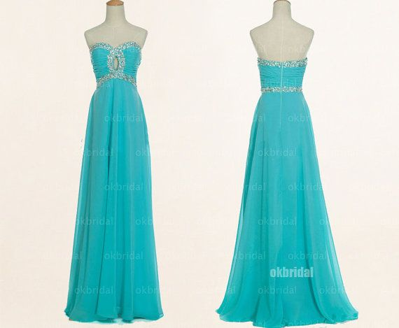 turquoise bridesmaid dresses long prom dresses chiffon by okbridal, $159.00