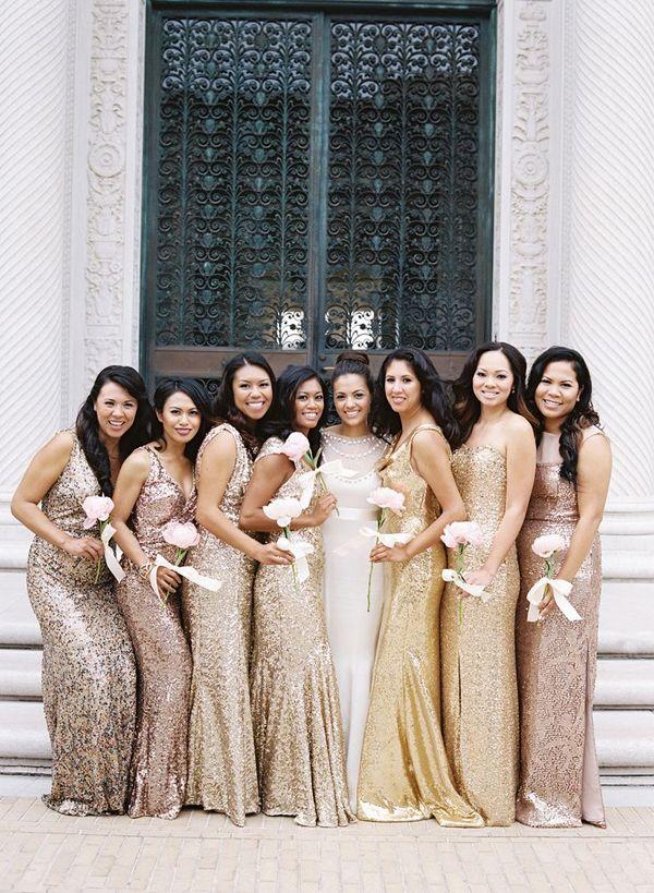 metallic bridesmaid dresses http://trendybride.net/beautiful-metallic-bridesmaid-dresses/ {trendy bride blog}
