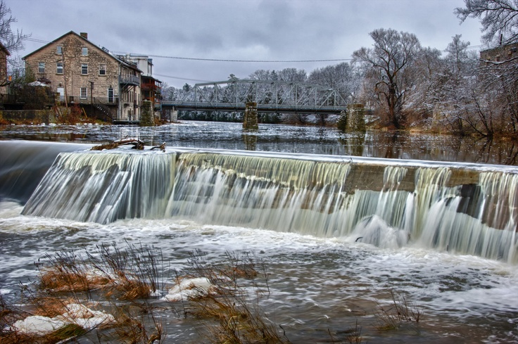 Grand River Dam, there is a number of small dams along the Grand River in Elora, Ontario, Canada that controls the water flow thru the Elora Gorge.