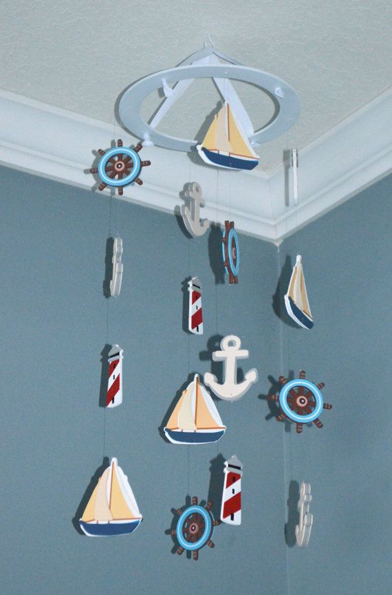 Nautical Baby Mobile Sailboat Anchor Wheel Lighthouse Nursery And Wheels