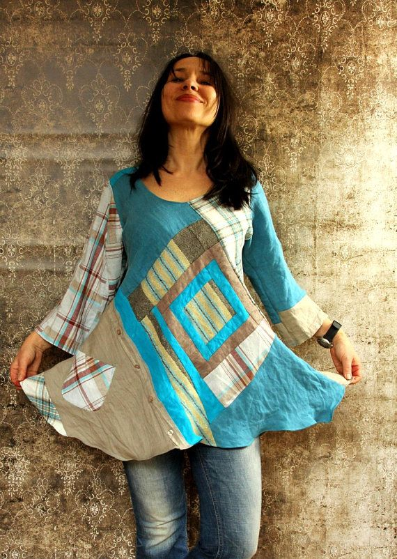 m l pure linen patchwork recycled dress tunic top etsy recycled
