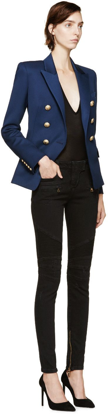 Balmain Navy Double-Breasted Blazer