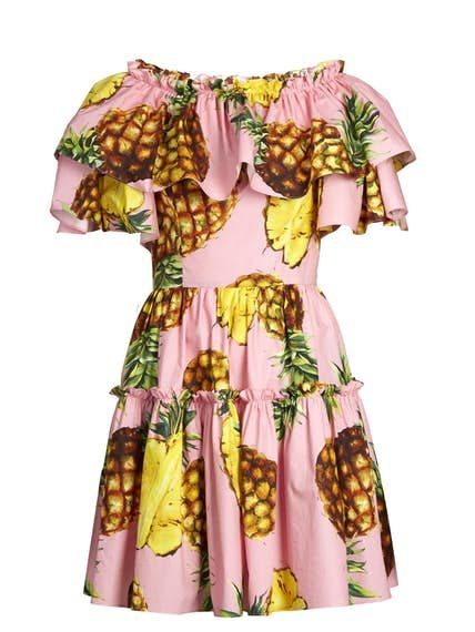 Pineapple Off The Shoulder Short Popline Dress