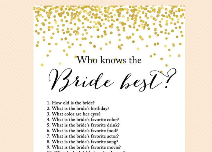 Who knows the Bride best, how well do you know the bride game, bridal quiz, Gold Confetti Bridal Shower, Bachelorette, Wedding Shower BS46 by MagicalPrintable on Etsy https://www.etsy.com/listing/233769939/who-knows-the-bride-best-how-well-do-you