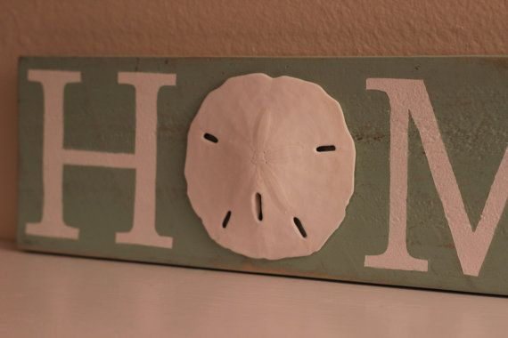Nautical HOME Sign Sand dollar HOME Sign by CoastalCoveCreations