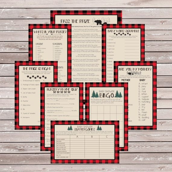 Lumberjack Baby Shower Games – Buffalo Plaid Baby Shower Games – Lumberjack Baby Shower – Lumberjack Shower – Boy Baby Shower Games