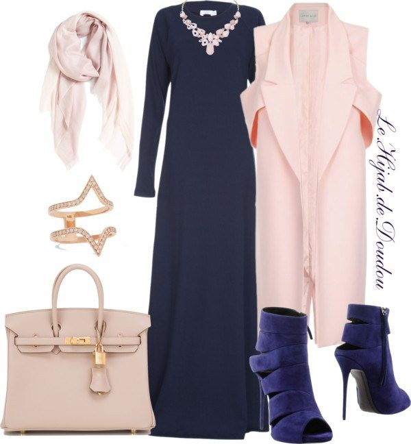 Navy dress, heels, blush pink scarf, necklace, coat, bag, gold ring