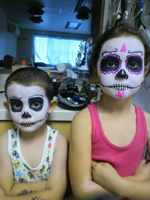 kids skeleton make up for halloween 2012