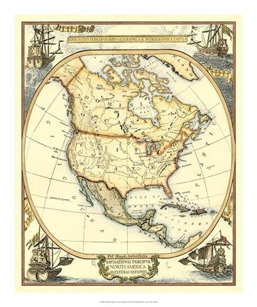 Nautical Map of North America Nautical Posters and Art | Nautical decor | Yacht models | Nautical themes | Handcrafted Ship Models