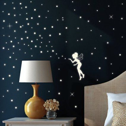 fluorescent fairy / elf and 130 glow in the dark stars - wall decal