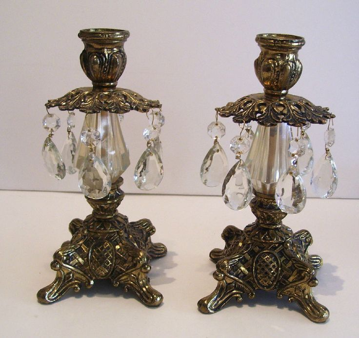 Pair of Vintage Hollywood Regency Metal Candleholders Glass Prisms #HollywoodRegency $79.99 Includes FREE USA and Canada Shipping!
