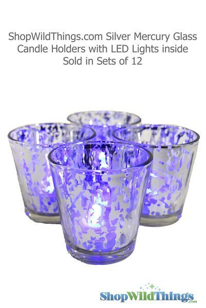 """Mercury Glass Candle Holders 12 PCS - """"Lydia"""" Small 2.5"""" Silver"""