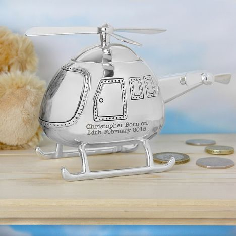 Personalised Silver Helicopter Money Box  http://justtherightgift.co.uk/personalised-silver-helicopter-money-box
