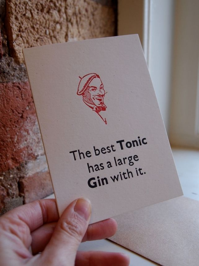 Gin and Tonic G&T letterpress card