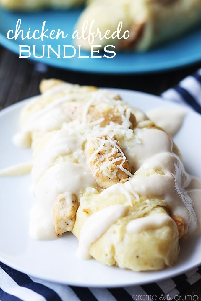 Chicken Alfredo Bundles {5 ingredients} - Creme De La Crumb