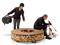 These rusted steel fire pits from Italian firm AK47 Design have a built-in place for the wood, and look very chic. While you may not be ready to move to Italy, you can bring a piece of it home. See more fire pit designs here http://www.landscapingnetwork.com/products/fire-pits/