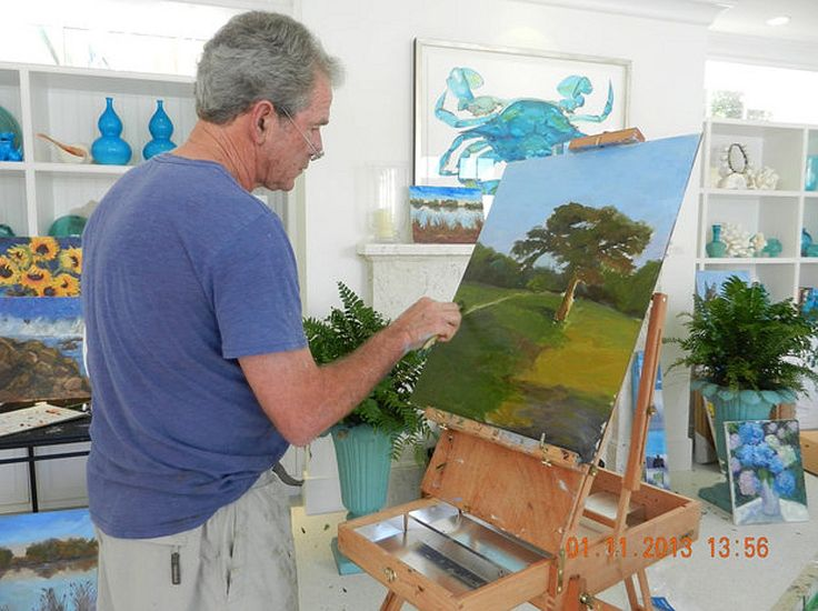 George W. Bush Paintings   George W Bush painting a picture