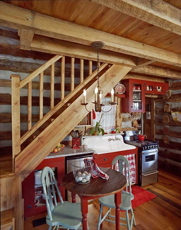 what not to do...Lighting in the Manfredis' guest cabin was created by local tinsmith Michael Felk.