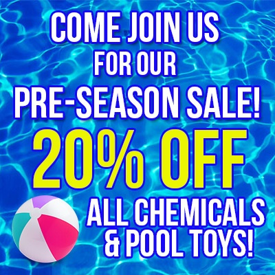 Our pre-season sale starts Monday! 20% off all chemicals, toys and floats. Load up on the pool supplies you will need this summer!