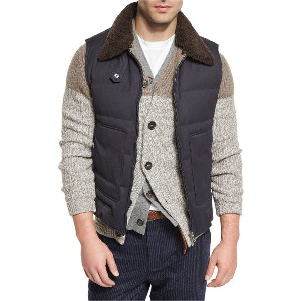 Brunello Cucinelli Quilted Vest w/Removable Shearling Collar (€2.760) ❤ liked on Polyvore featuring men's fashion, men's clothing, men's outerwear, men's vests, navy, mens vest, mens quilted vest, mens pocket vest, mens navy vest and mens vest outerwear