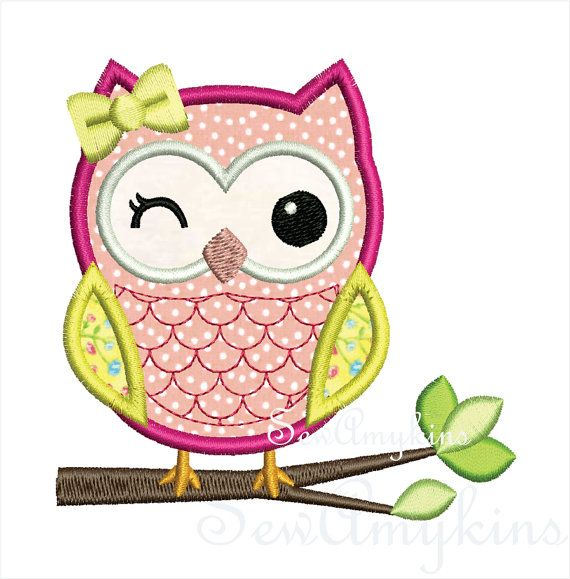 Owl applique Girl v2 on Branch machine embroidery by SewAmykins, $2.95