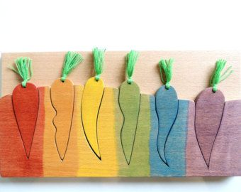 Wood color matching  game, Educational toy, Carrots, Learning colors, Wooden toy, Fine motor skills game, wood vegetables, Toddler gift