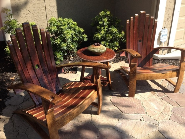 Amish made Silver Oak wine barrel chairs from Seasonal Concepts. Overland Park , KS, Tulsa, OK, St. Louis,MO.  Seasonalconceptsonline.com