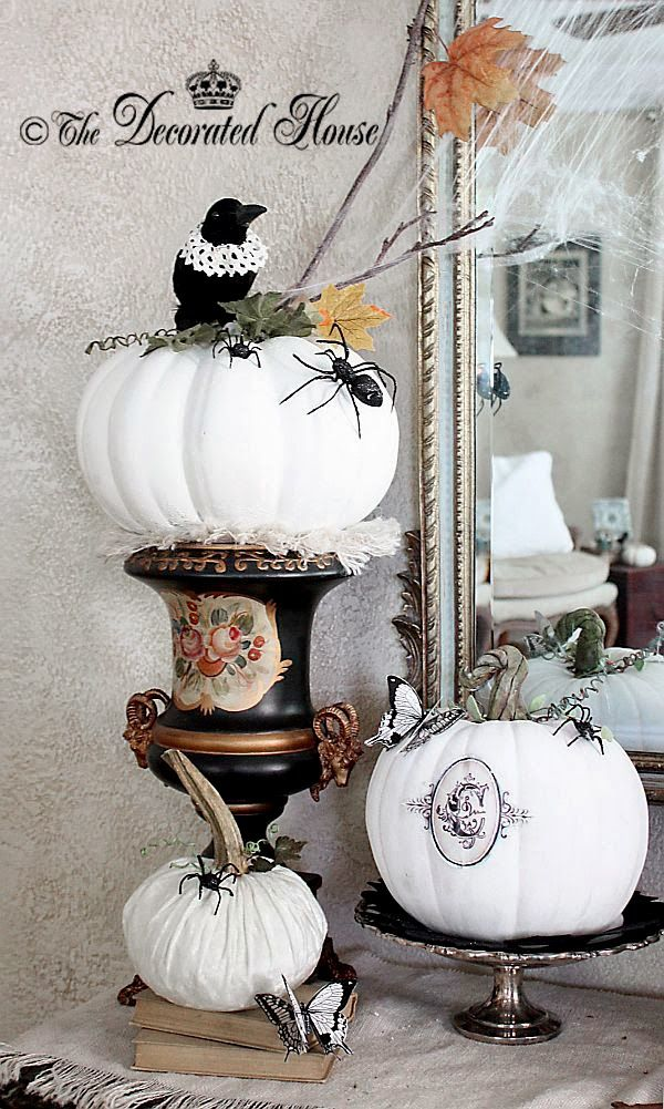 the decorated house halloween decorating black white silver little touches - Elegant Halloween Decor