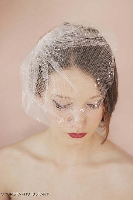 Bridal tulle veil with pearls! The sweetest mini tulle veil that is speckled with hand applied sparkling pearl beads - mini tulle veil with a lot