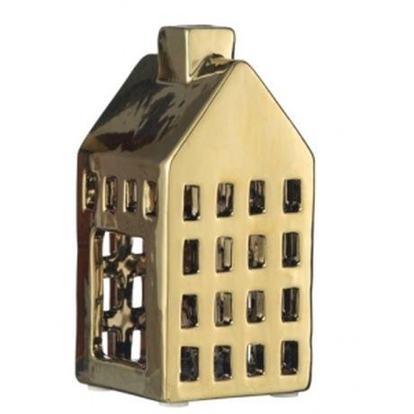 Domek ceramiczny lampion, złoty