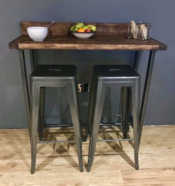 Reclaimed Wood Breakfast Bar Table And 2 Stools Set Industrial Chic Steel Legs Ebay In 2020 Breakfast Bar Table Tall Kitchen Table Bar Table