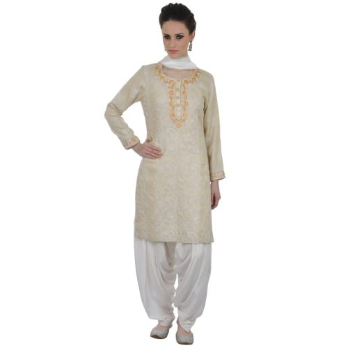 Buy Empress Hand Crafted  Chikankari With Parsi  Gara Embroidery Suit online shopping from India. Hand Embroidered Chikankari and Parsi Gara work come together to create magic in this new Empress One of a kind arrival. This Pure Georgette Shirt has intric