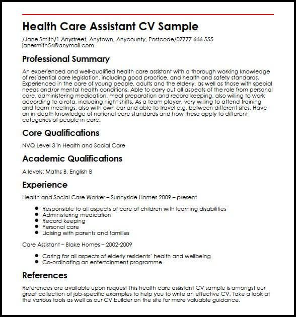 Cv Template Healthcare Health Care Assistant Personal Care