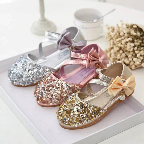 Toddler Children Kids Girls Pearl Sequins Single Princess Party Dance Shoes