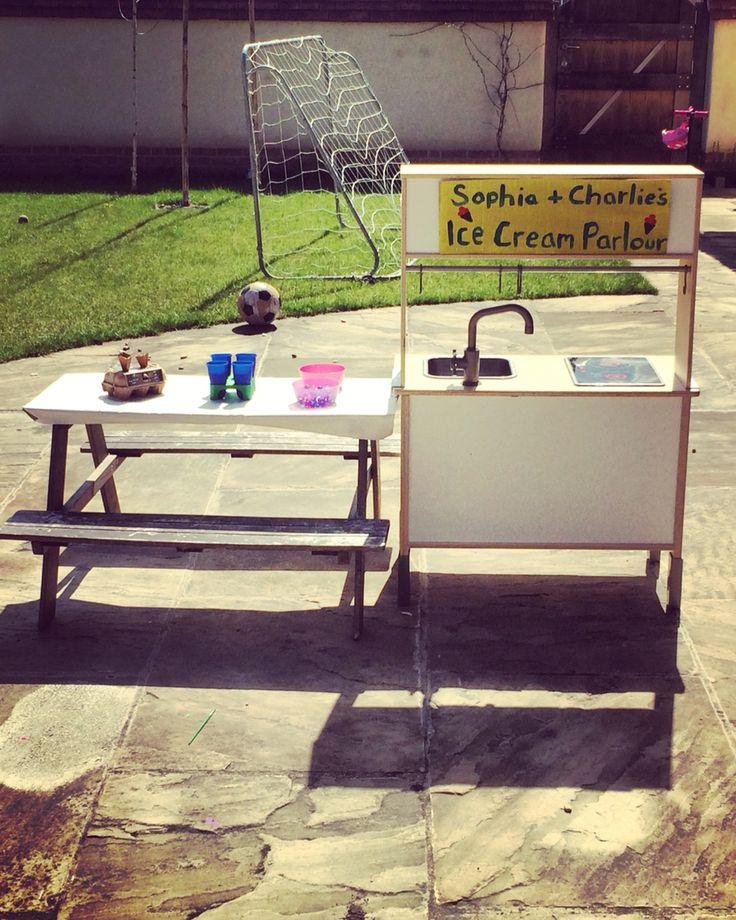 Ice cream parlour: shaving foam, coloured rice sprinkles, water beads, pretend paper cones