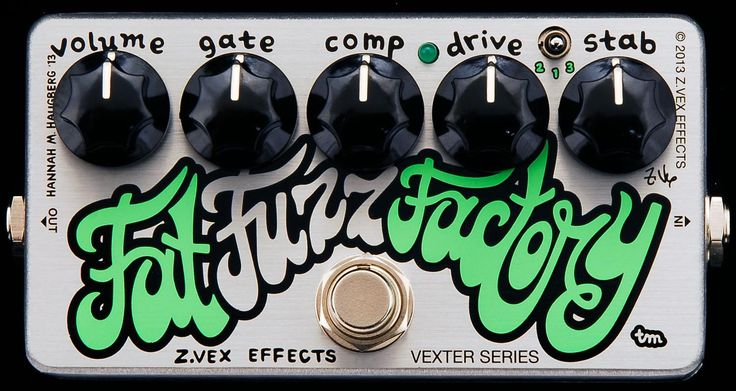 "ZVEX Effects Vexter Fat Fuzz Factory A version of the Fuzz Factory. This variation features a three position mini toggle switch. Setting 1 is a standard Fuzz Factory, settings 2 and 3 introduce ""low"""