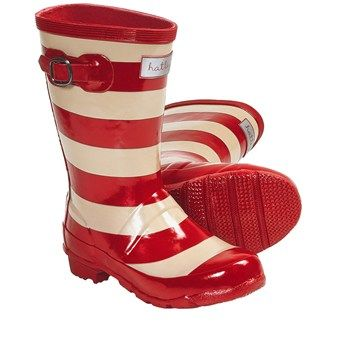 Hatley Splash Rubber Rain Boots (For Kids and Youth Girls) in Red Stripes