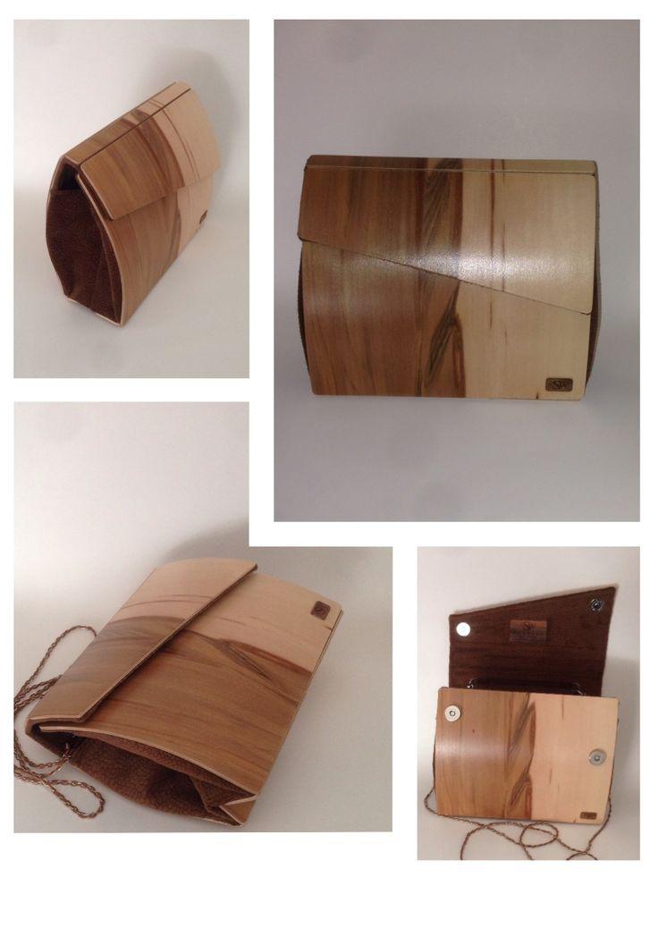 Walnut wood clutch