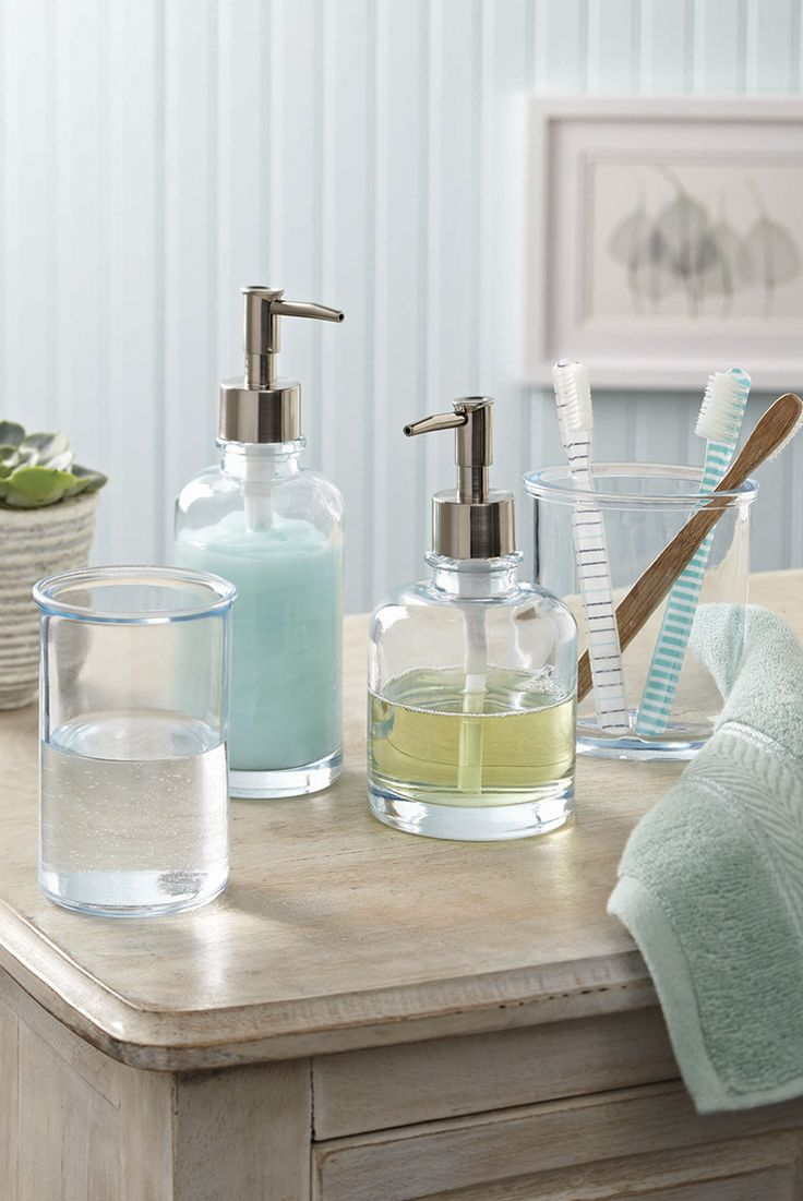Bathroom glass accessories - Better Homes And Gardens Glass Accessories Collection Tall Lotion Soap Pump
