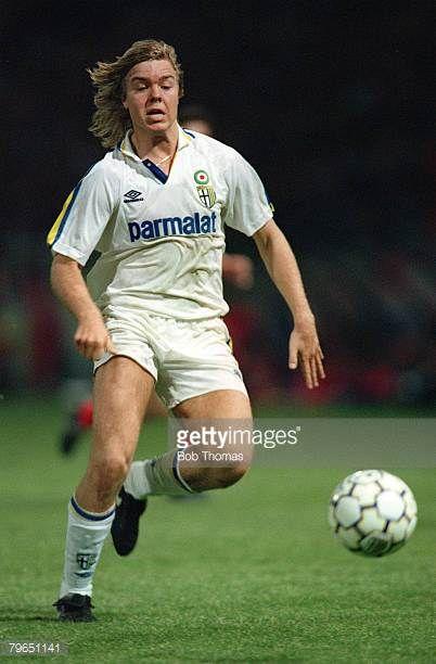 circa 1990 European Football Parma's Thomas Brolin moves for the ball