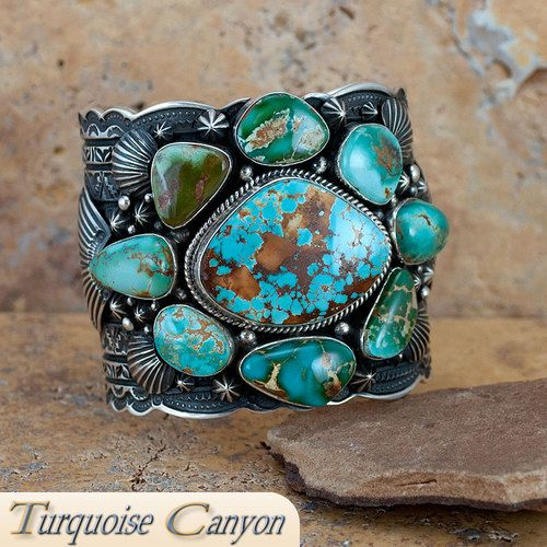 Navajo Native American Royston Turquoise Cuff Bracelet by Becenti