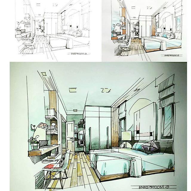 bedroom sketch watercolour interiordesign