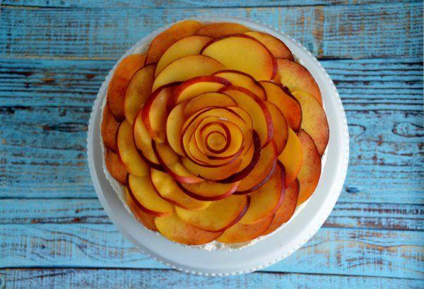 Barackos túrótorta sütés nélkül - barackos rózsatorta  Peach rose cake