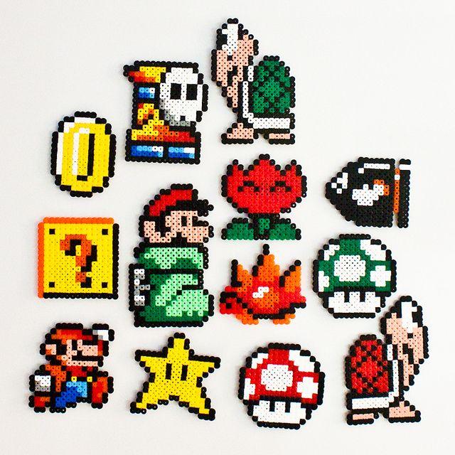 Hama Super Mario Fridge Magnets - by Anna BergIind, via Flickr