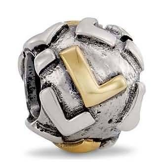 Pandora Letter L Charm 14k Gold and Sterling Silver