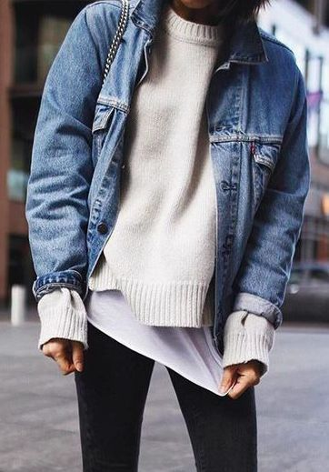 Inspired autumn winter fashion, warm knitted jumpers and denim layers via: Layer your jean jacket over a sweater and tee for casual fall look