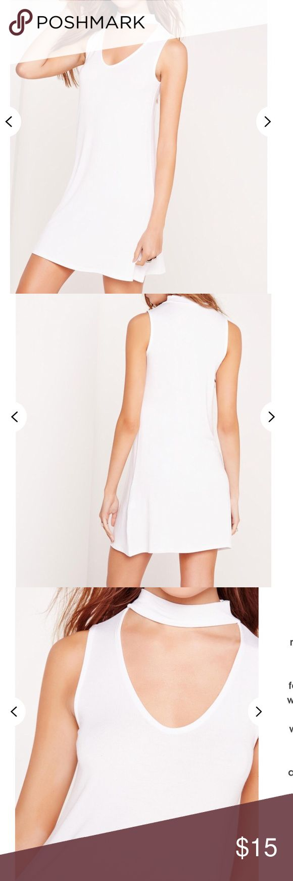 Choker neck jersey white dress Size 6. Sleeveless, all white. Loose fitting. Missguided Dresses Midi