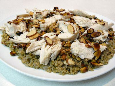 Freekeh (roasted wheat).  This is the Lebanese version.