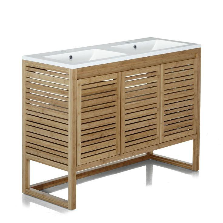 meuble sous vasque en bambou avec vasque double en rsine blanche naturel balnc - Meuble Vasque Salle De Bain 50 Cm Nature